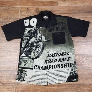 Harley Davidson Road Race Championship Button Up M